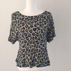 H&M shirt sleev leopard print top size 2